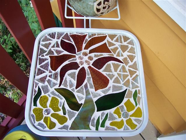 glass on glass . recycled table