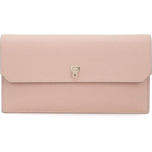 Valextra medium clutch (42.179.190 VND) ❤ liked on Polyvore featuring bags, handbags, clutches, pink handbags, pink purse, valextra, leather handbags and pale pink leather handbag
