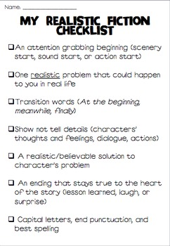 Realistic Fiction Checklist Teaching Realistic Fiction Fiction