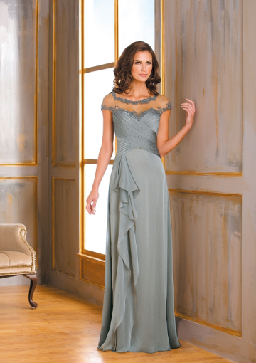 Cap+Sleeves+Scoop+Chiffon+Pleated+Bodice+Appliques+Long+Mother+of+The+Bride+Dress+By+Jade+175013