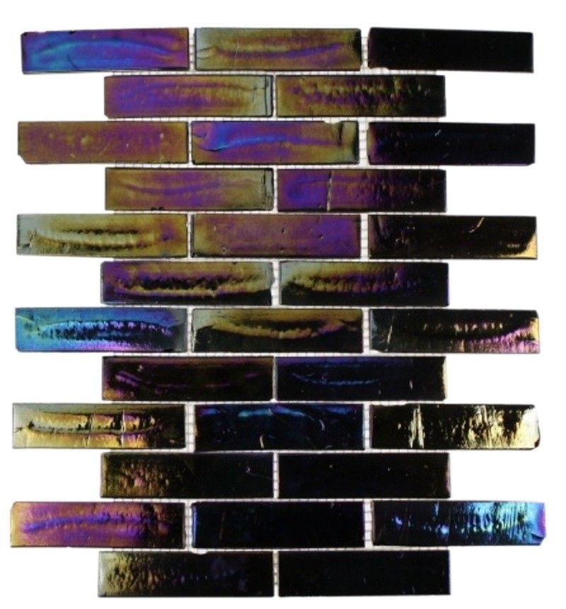 Splashback Tile Tectonic Harmony Green Quartz Slate And: Shop 13x9.75 Iridescent Inkwell Brick Mosaic In Polished