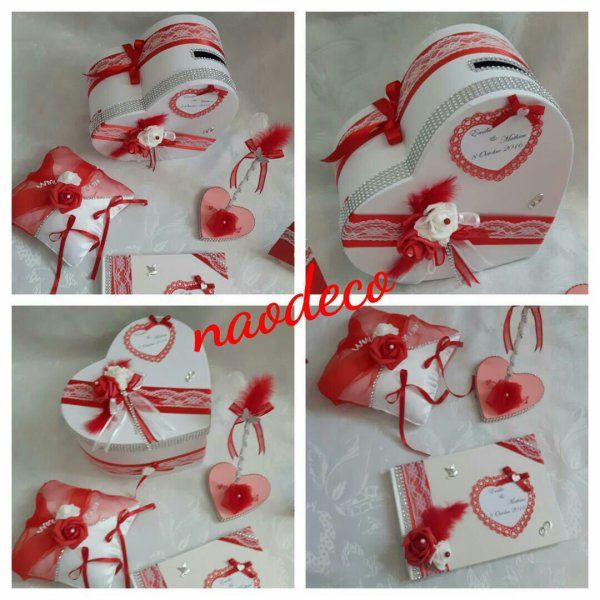 Urne Mariage Rouge Et Blanc