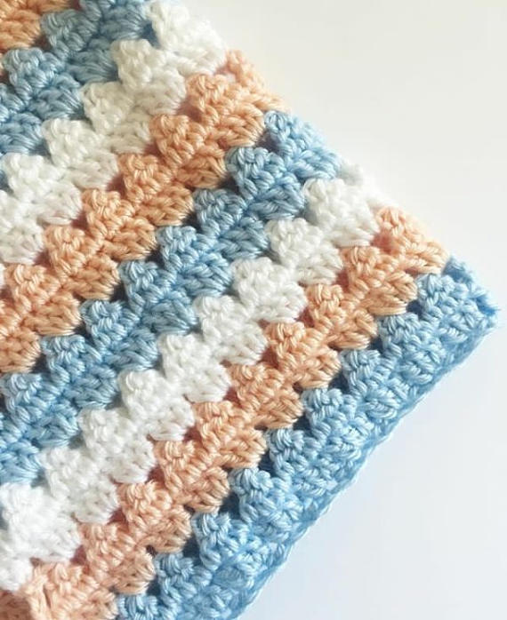 Modern Peach and Blue Granny Blanket Crochet Pattern - Daisy Farm ...