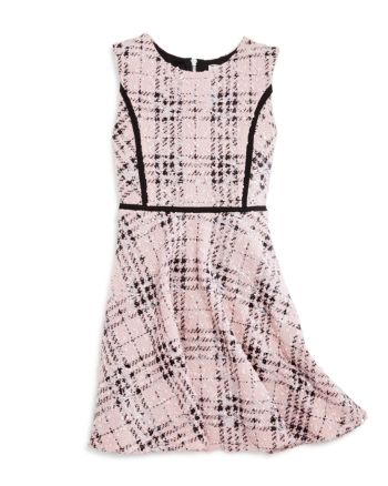 Sally Miller Girls' Boucle Plaid Shimmer Dress - Big Kid  - Blush Combo #sallymiller