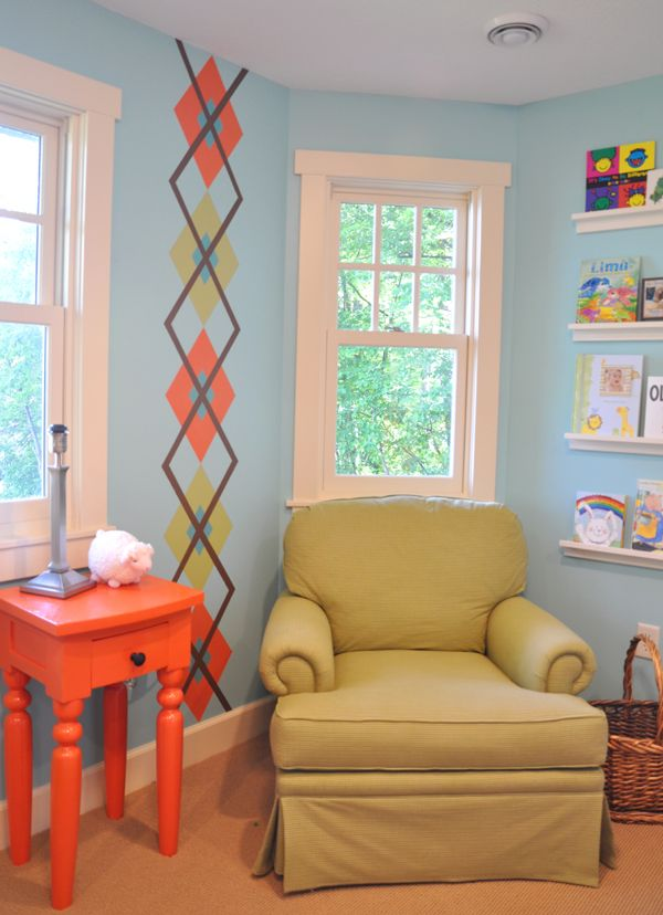 child's room and how to paint an argyle print on the wall.  how to put simple shelving on the wall for books.  Furniture painted orange ☻