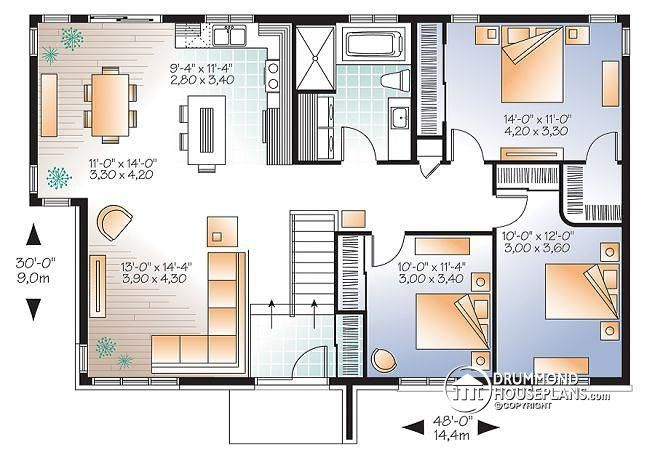 Discover The Plan 3128 V1 Lotus 2 Which Will Please You For Its 3 Bedrooms And For Its Contemporary Styles House Plans Drummond House Plans Contemporary House Plans