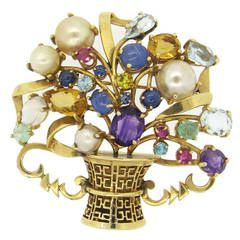 Impressive Retro Multicolor Gemstone Pearl Basket Pendant Brooch