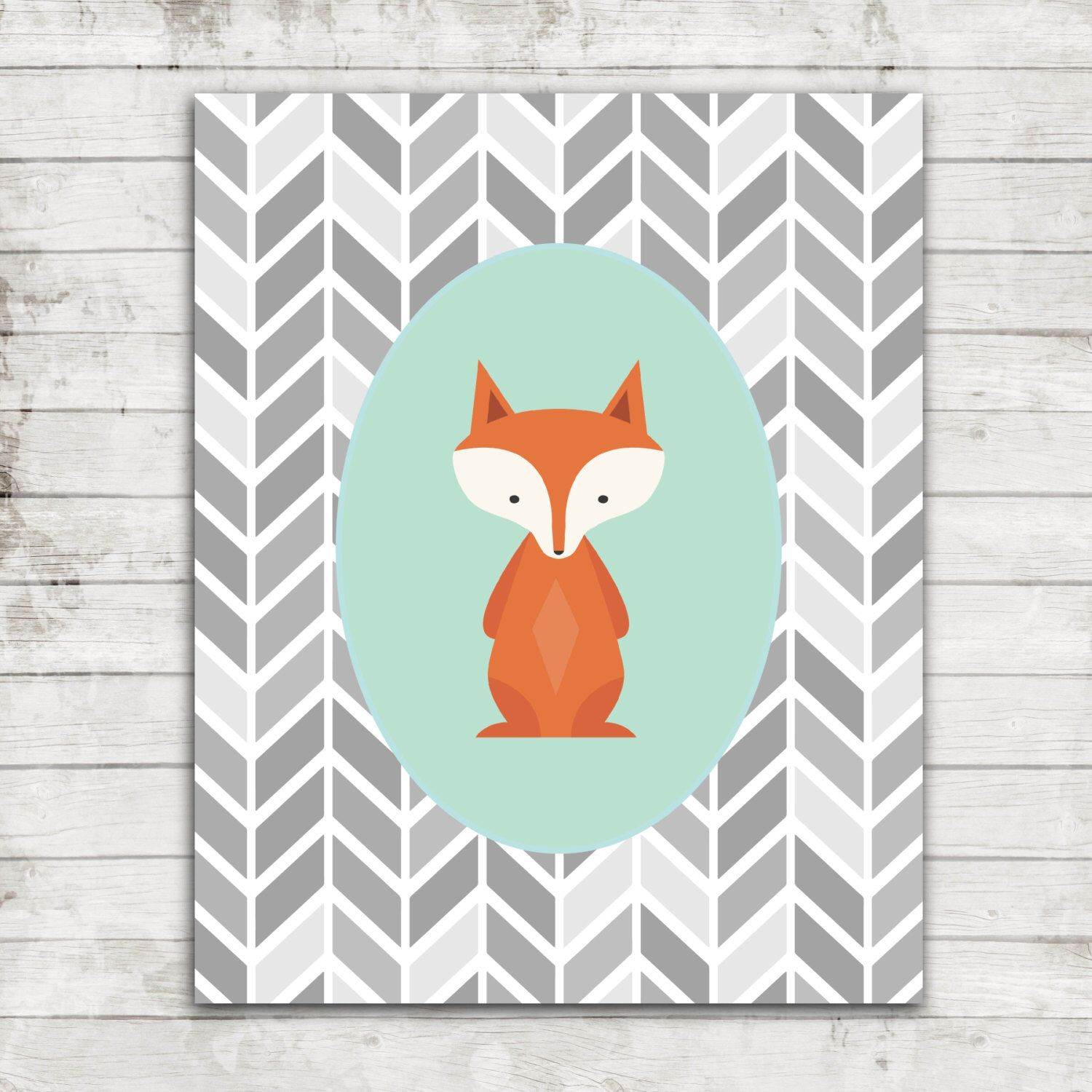 Elephant nursery wall art print mom baby dad by rizzleandrugee - Cute Woodland Fox With Mint Green And Trendy Grey Arrow Backgound Nursery Children S Printable Art For 8x10 Print 225
