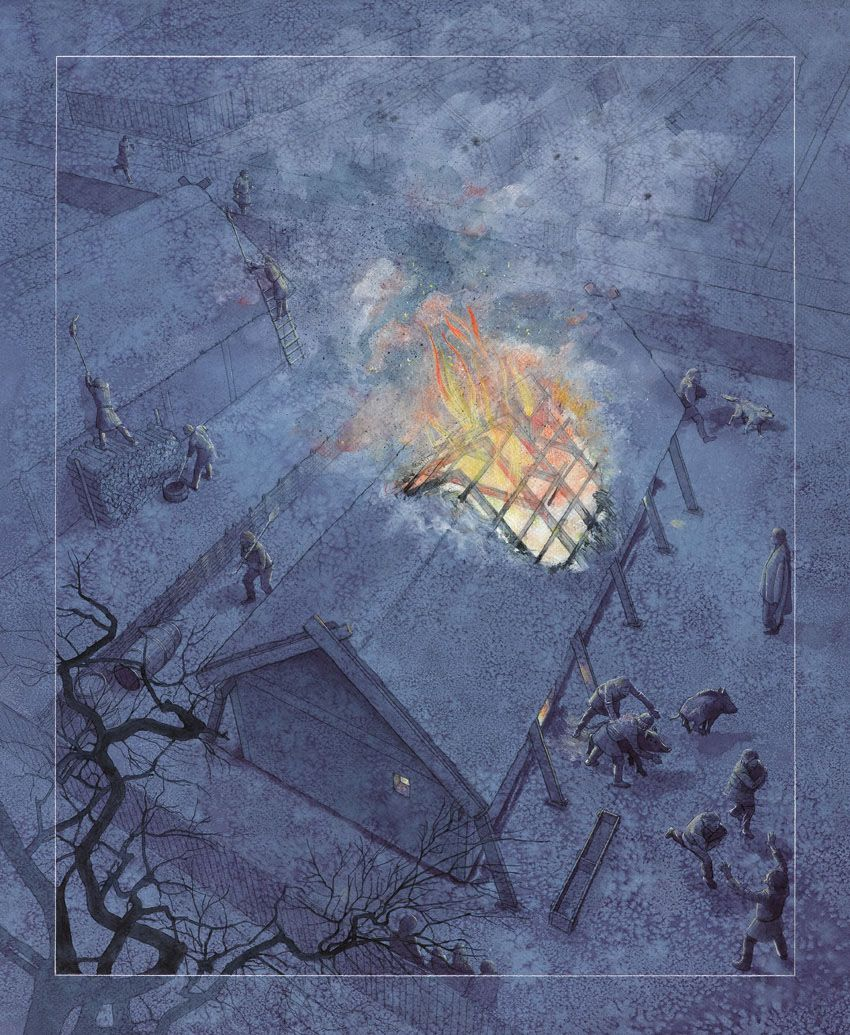 A house burning in Viking Haithabu by Flemming Bau
