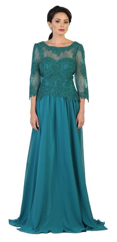 4a942a9aeea This modest mother of the bride floor length dress features 3 4 sleeve with  round neckline