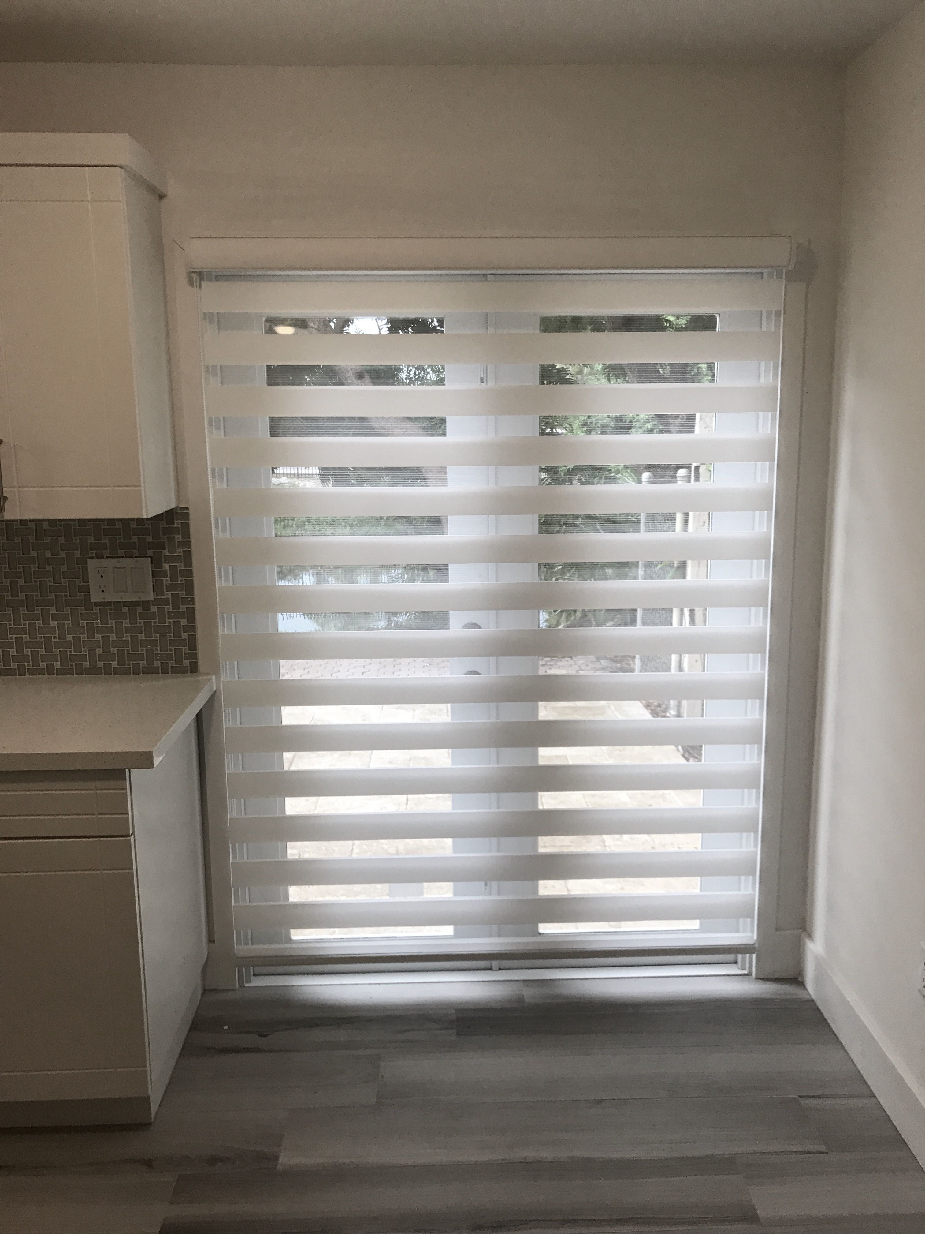 Zebra Illusion Privacy Shade On French Door Opening Door Blinds