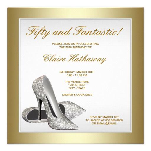 White Gold High Heels Womans 50th Birthday Invitation Zazzle Com