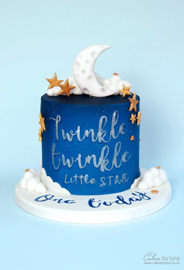 Night Sky 'Twinkle Twinkle Little Star' Cake using Sweet Stamps #mooncake