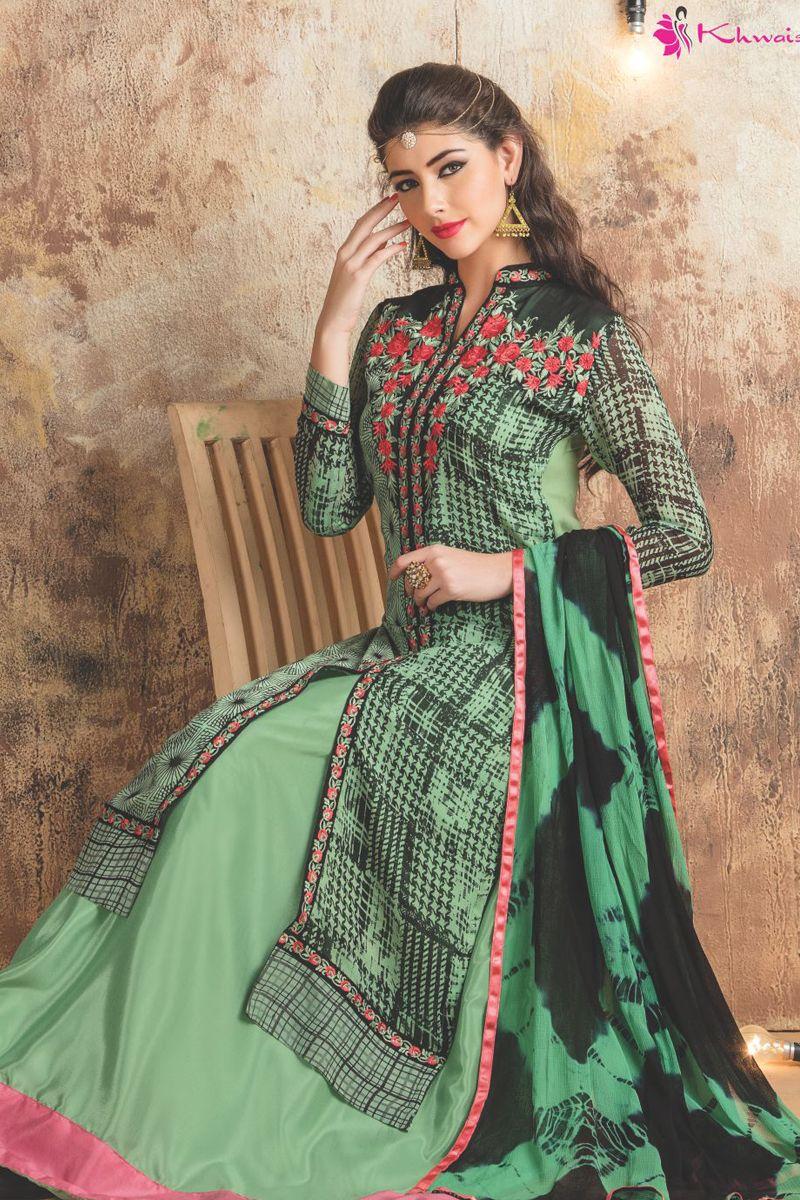Green event wear designer lehengha style straight dress with