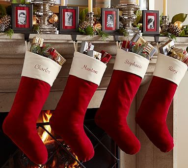 Velvet Stocking, X-Large, Red with Ivory Cuff Ivory, Stockings and - christmas decorations sale