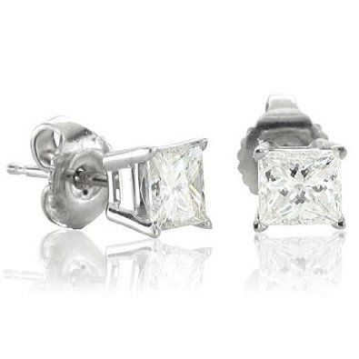 0.40 carat Princess Cut Diamond Stud Earrings In 14k White Gold (HI, I1-I2)