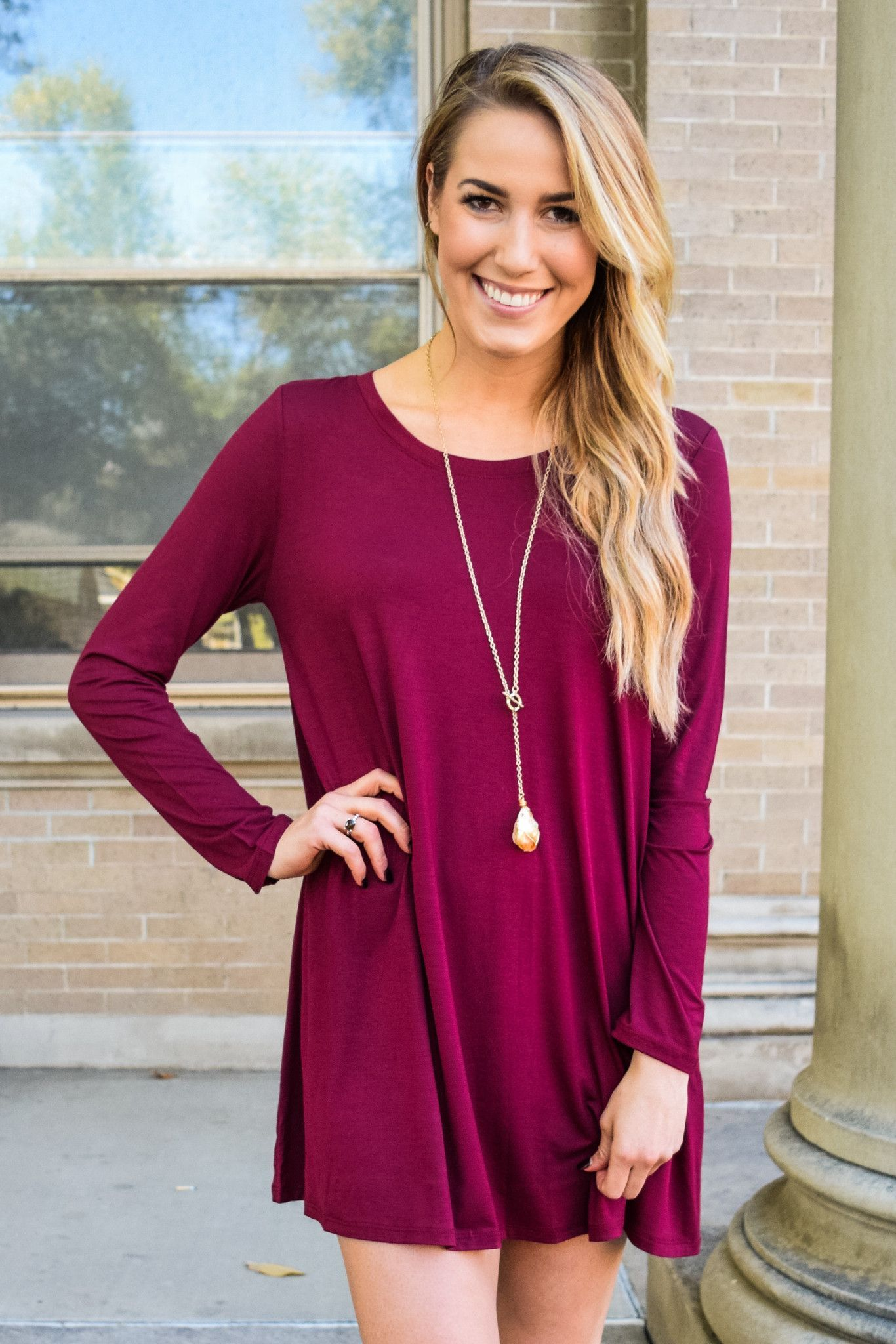 d83f201b17 Fireside Long Sleeve Tee Shirt Dress Burgundy