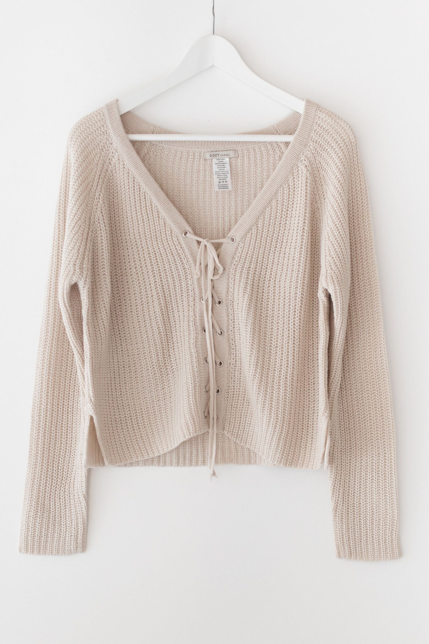 Nude oversized front lace-up sweater - Chunky sweater knit ...