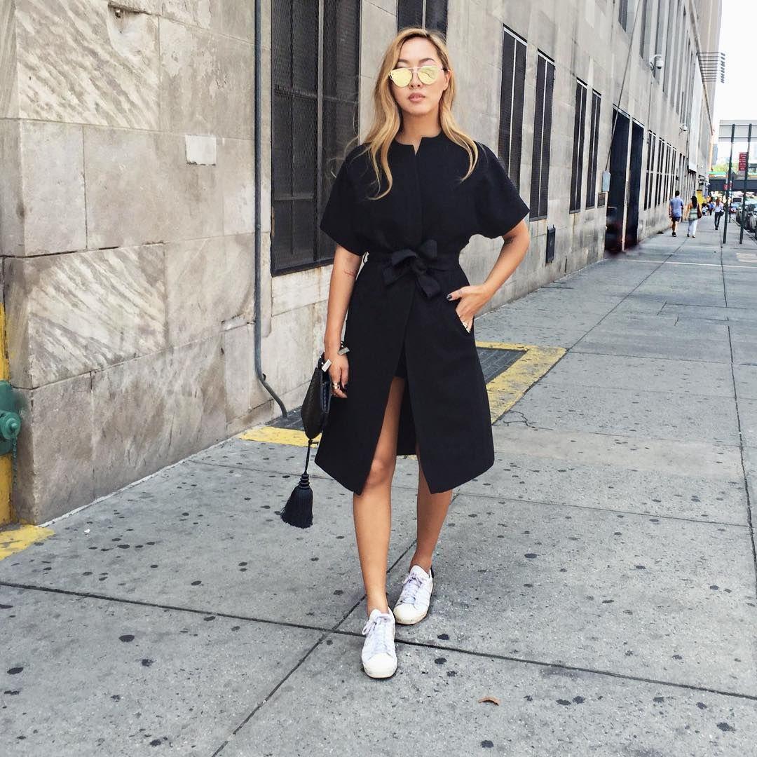 Casual Outfit Idea Black Maxi Dress Bag Sneakers Pretty Dresses Casual Black Maxi Dress Outfit Black Maxi Dress [ 1702 x 735 Pixel ]