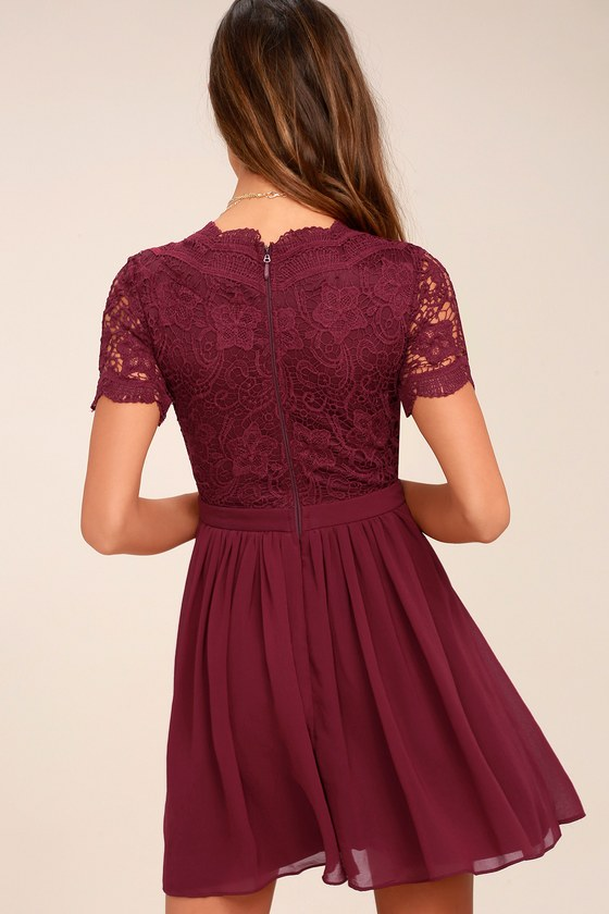 8d90697da4b Angel in Disguise Burgundy Lace Skater Dress 3