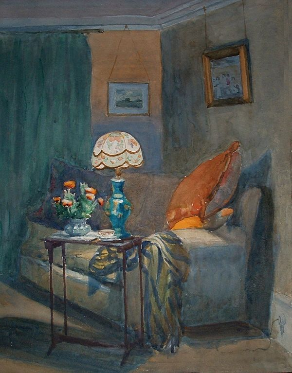 Norman Garstin (Irish, 1847 - 1926)  Interior at Wellington Terrace (the artist's home in Penzance, Cornwall), watercolour, n/d.