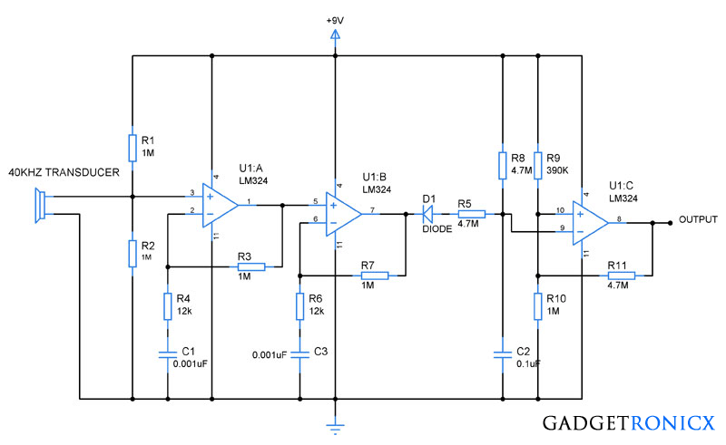 Ultrasonic receiver circuit using Opamp LM324 | https://www