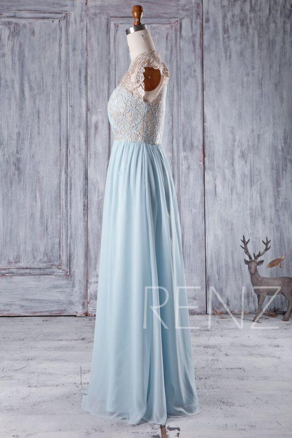 defac315bce 2016 Light Blue Chiffon Bridesmaid Dress Gold Lace by RenzRags