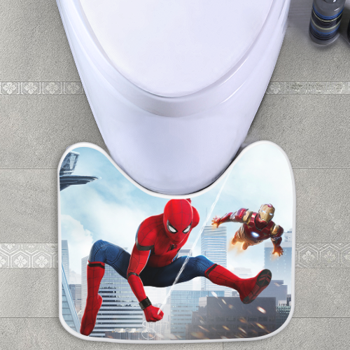 Super Spider Man And Iron Man Toilet Mat Toiletseat Evergreenethics Interior Chair Design Evergreenethicsorg