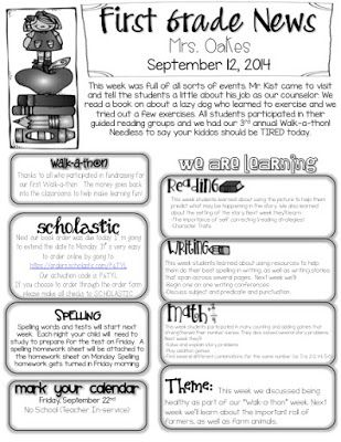 examples for, sample monthly, templates for, on 1st grade newsletter information template