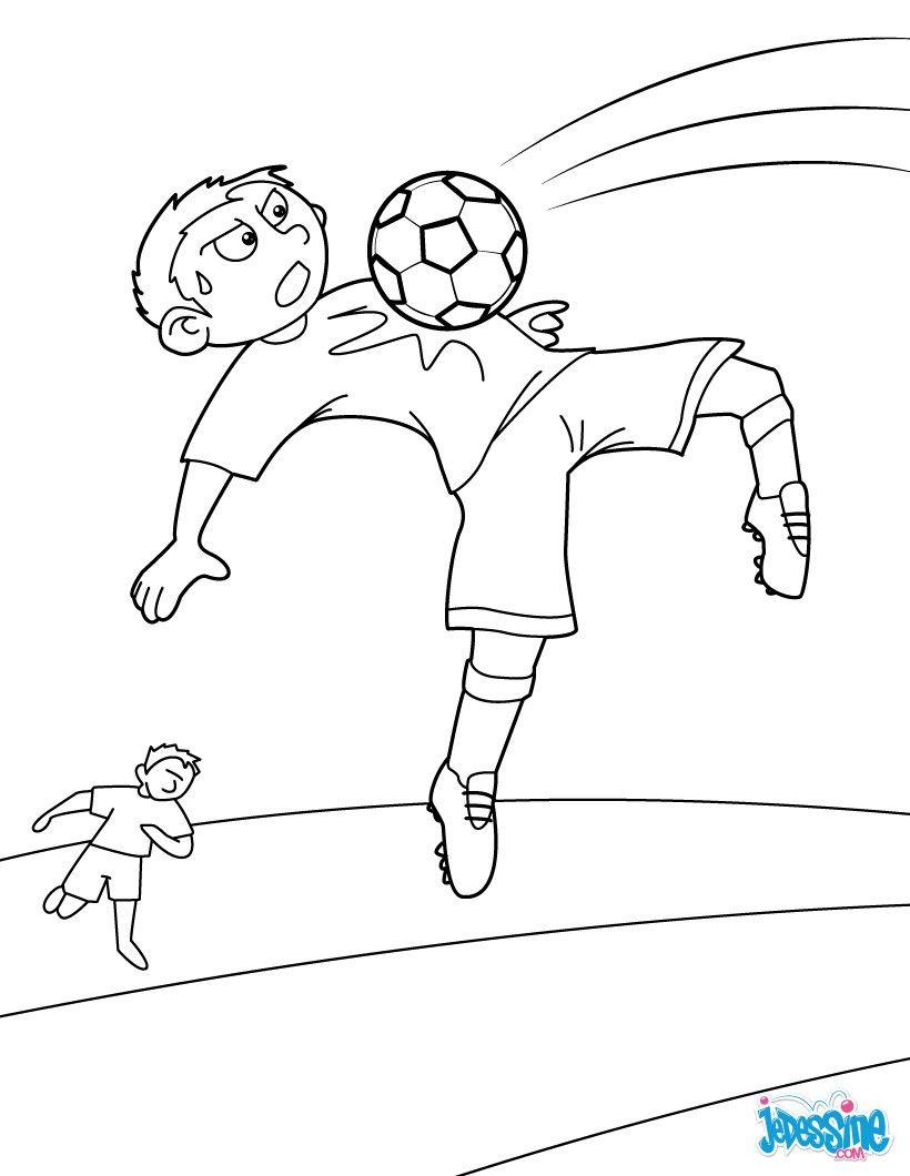 Coloriage d un contr´le de la poitrine par un joueur de foot pendant un match