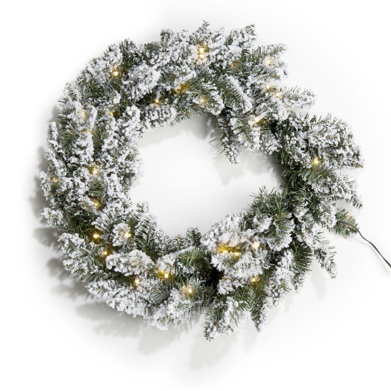 amazoncom 24 pre lit flocked pine christmas wreath with 50 warm