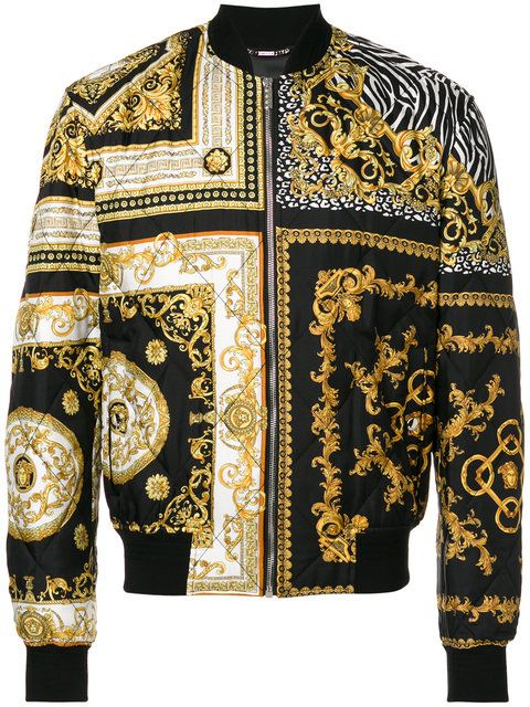 5d1cb2724 Versace baroque quilted bomber jacket | Scarf ideas 2019 in 2019 ...