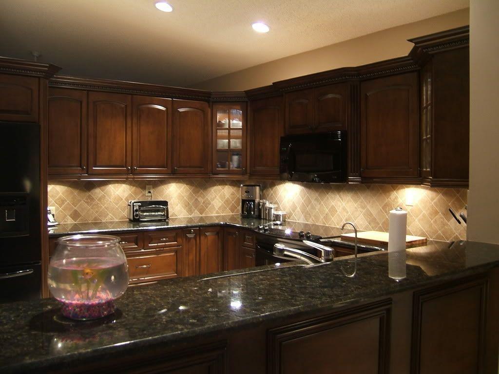 Dark Wood Cabinets With Light Granite Kitchen Ideas High ...