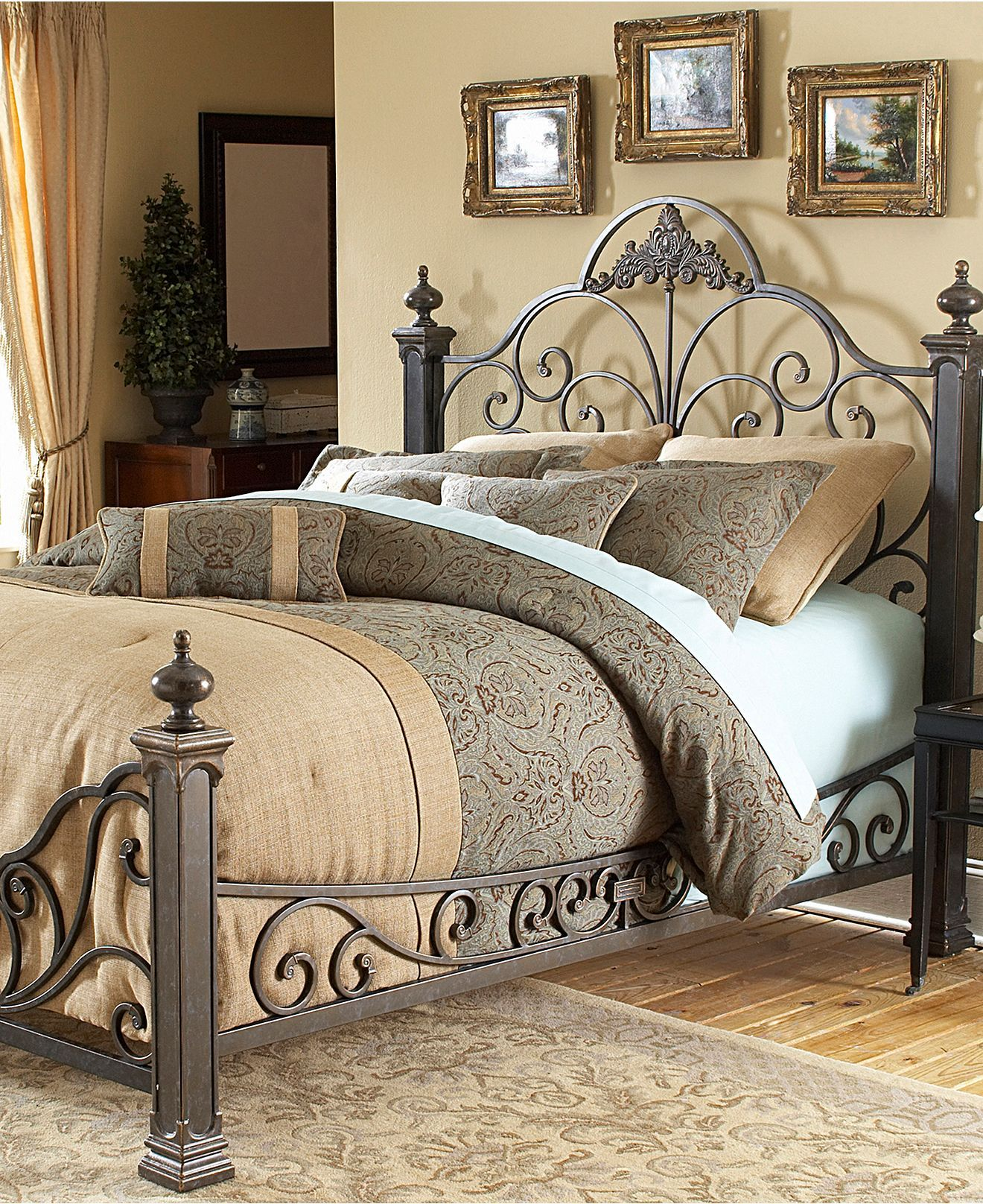 Manchester Gilded Slate King Bed Metal Bed Frame Beds