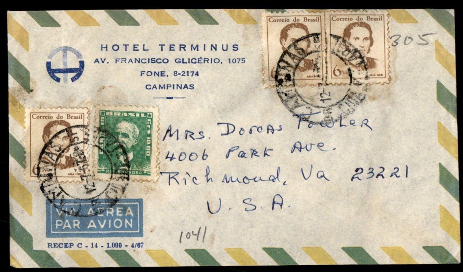 Hotel Terminus Advertising Airmail Campinas Brazil Cover to Richmond VA US   eBay