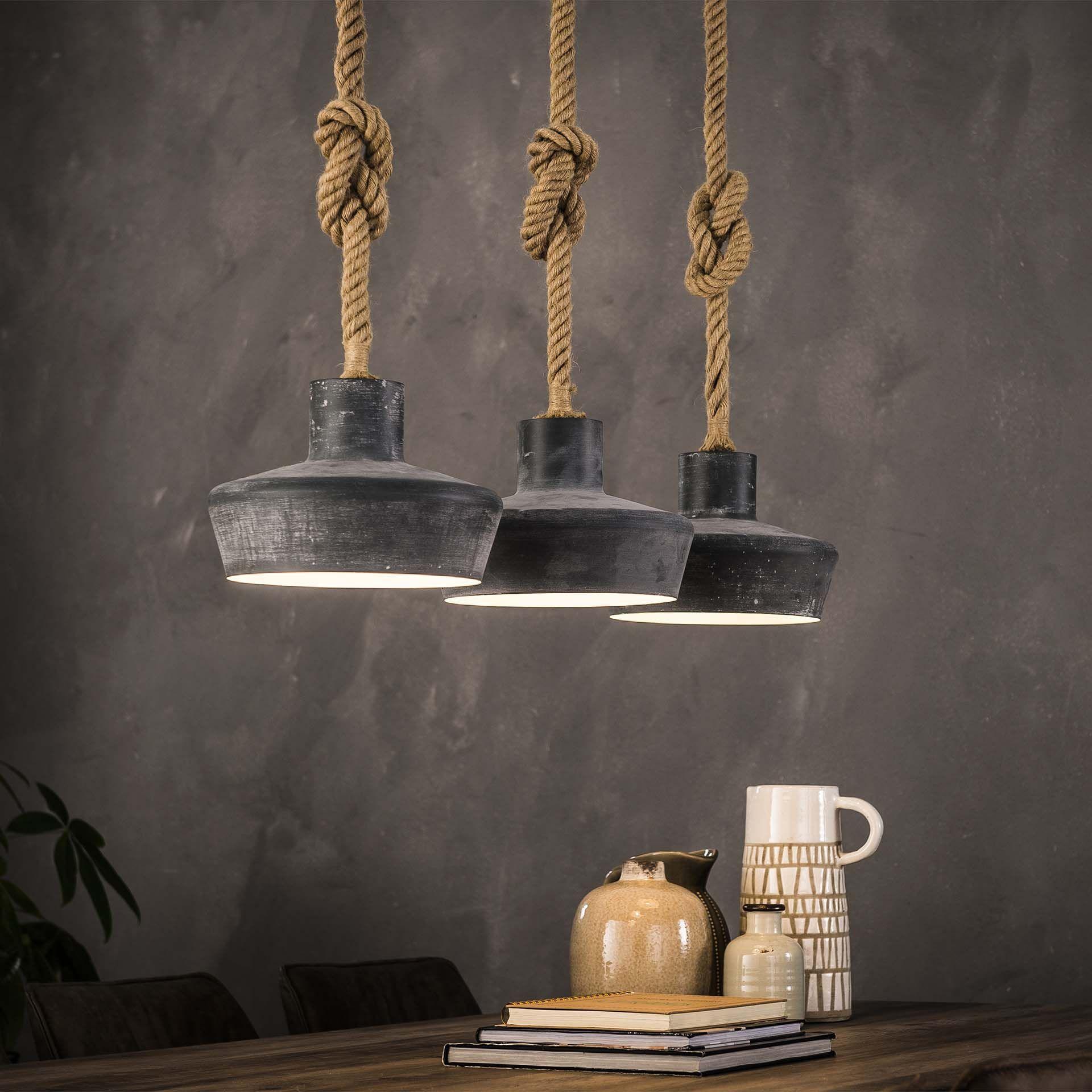 Hanglamp 3xo28 Betonlook Verstelbaar Touw In 2020 Industriele Hanglampen Plafondverlichting Eetkamertafel Lamp