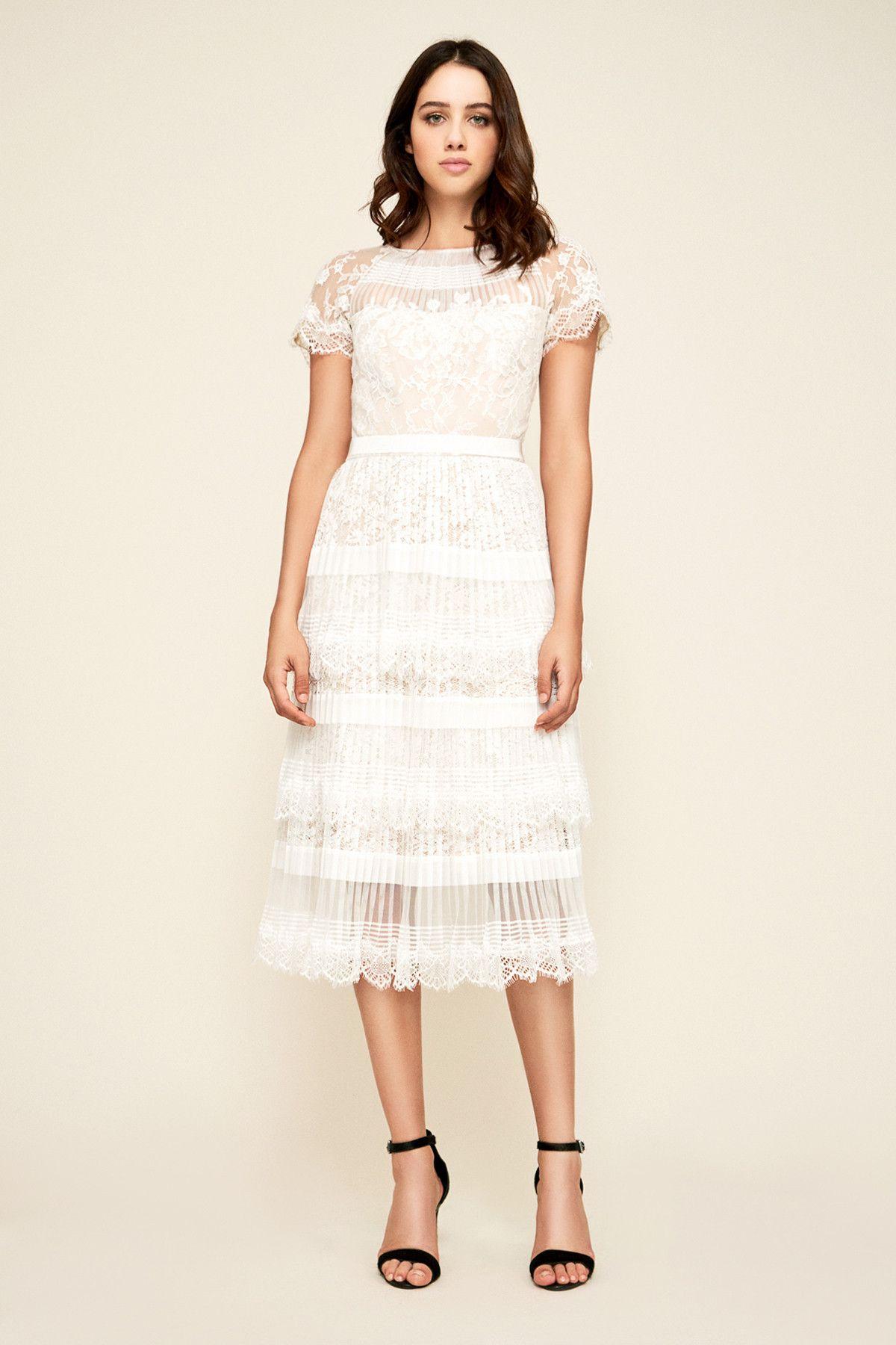 Nixie Pleated Tea Length Dress Tadashi Shoji Tea Length Dresses White Bridal Shower Dress Tea Length Wedding Dress [ 1800 x 1200 Pixel ]