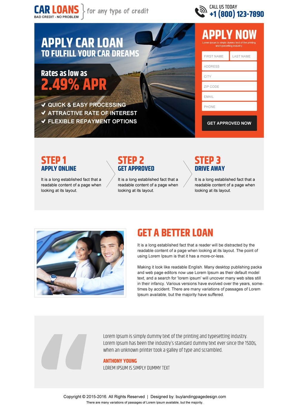clean car loan responsive landing page design template   car loan ...