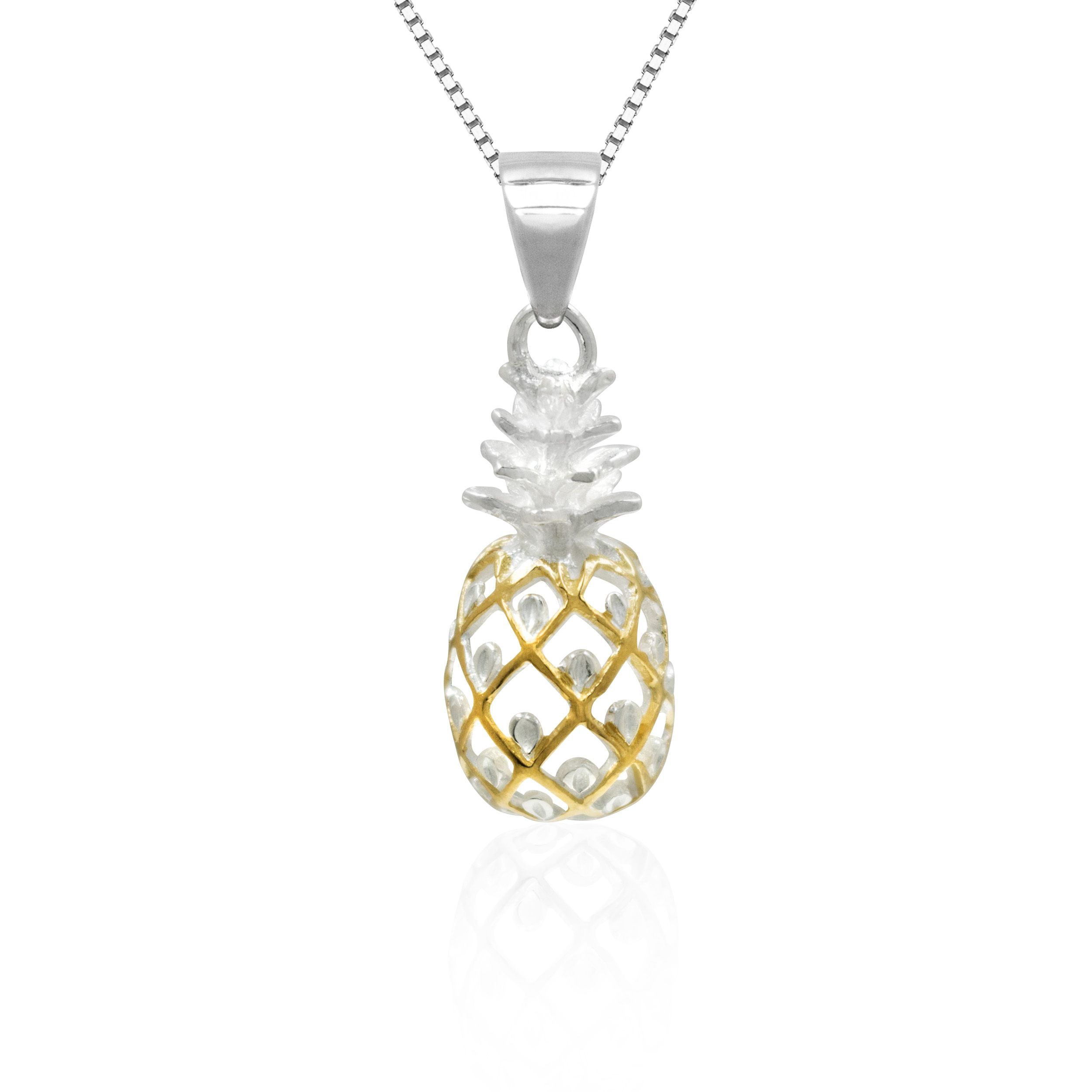 Sterling Silver Two Tone Gold Pineapple Necklace Pendant With Box Chain Accented With Yellow Gold 18 1 0mm Box C Pendant Necklace Pineapple Necklace Jewelry