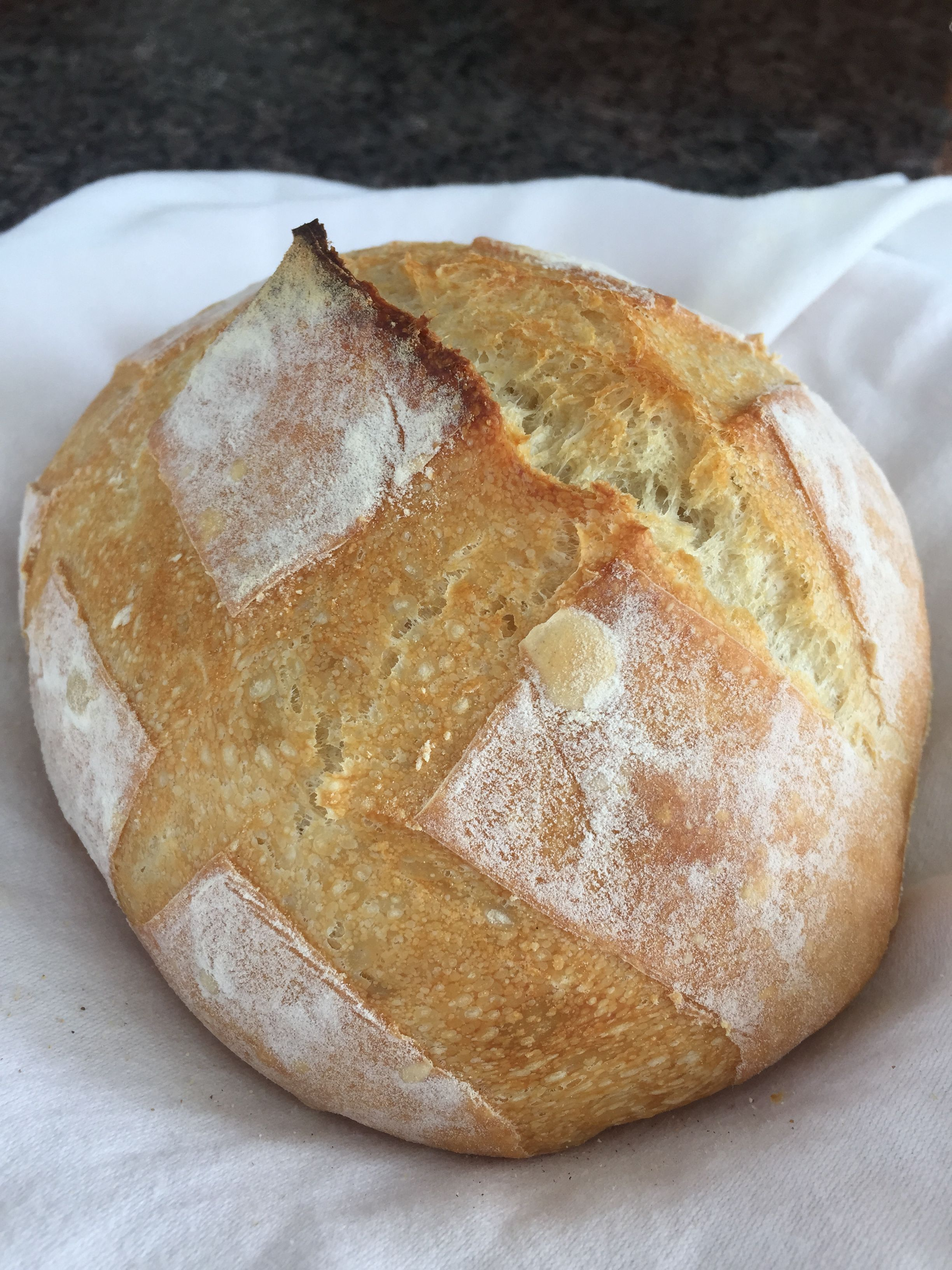 Perfectly crusty on the outside and chewy on the inside artisan bread.