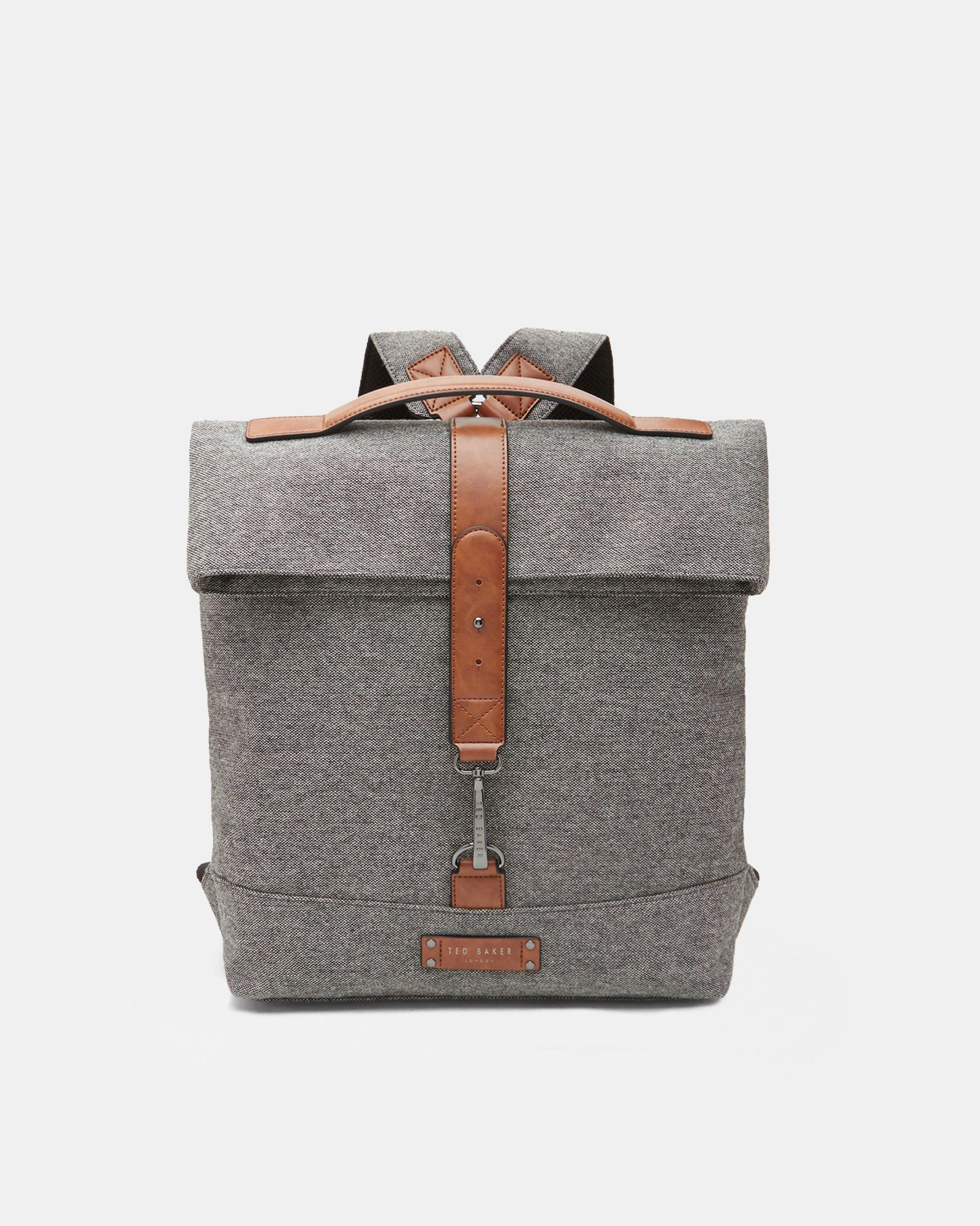044757ab0 Ted Baker Wool-blend roll down backpack Grey Ted Baker