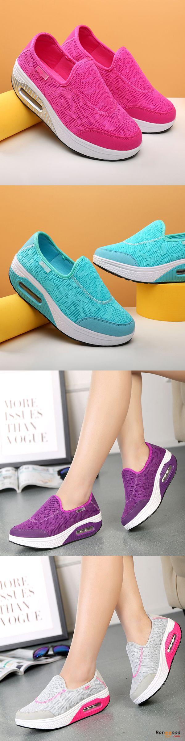Rocker Sole Shoes Women Slip On Sport Casual Running Canvas Shoes