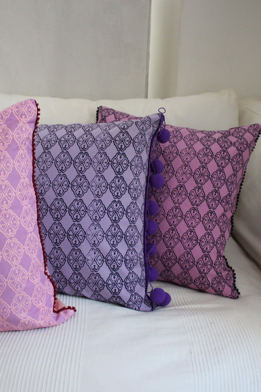 Kissen Set 3er Violett Rosa Lila Apricot Wendekissen 50x50