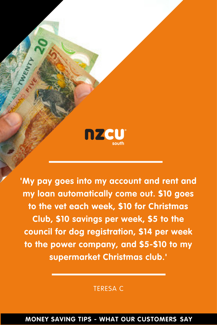 'My pay goes into my account and rent and my loan automatically come out. $10 goes to the vet each week, $10 for Christmas Club, $10 savings per week, $5 to the council for dog registration, $14 per week to the power company, and $5-$10 to my supermarket Christmas club.'