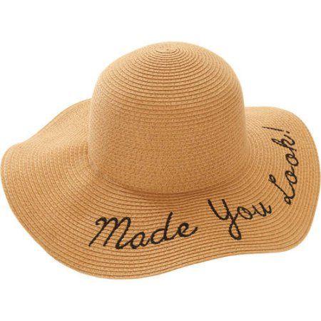 277917e18edff Faded Glory Women s Fashion Words Straw Floppy Hat