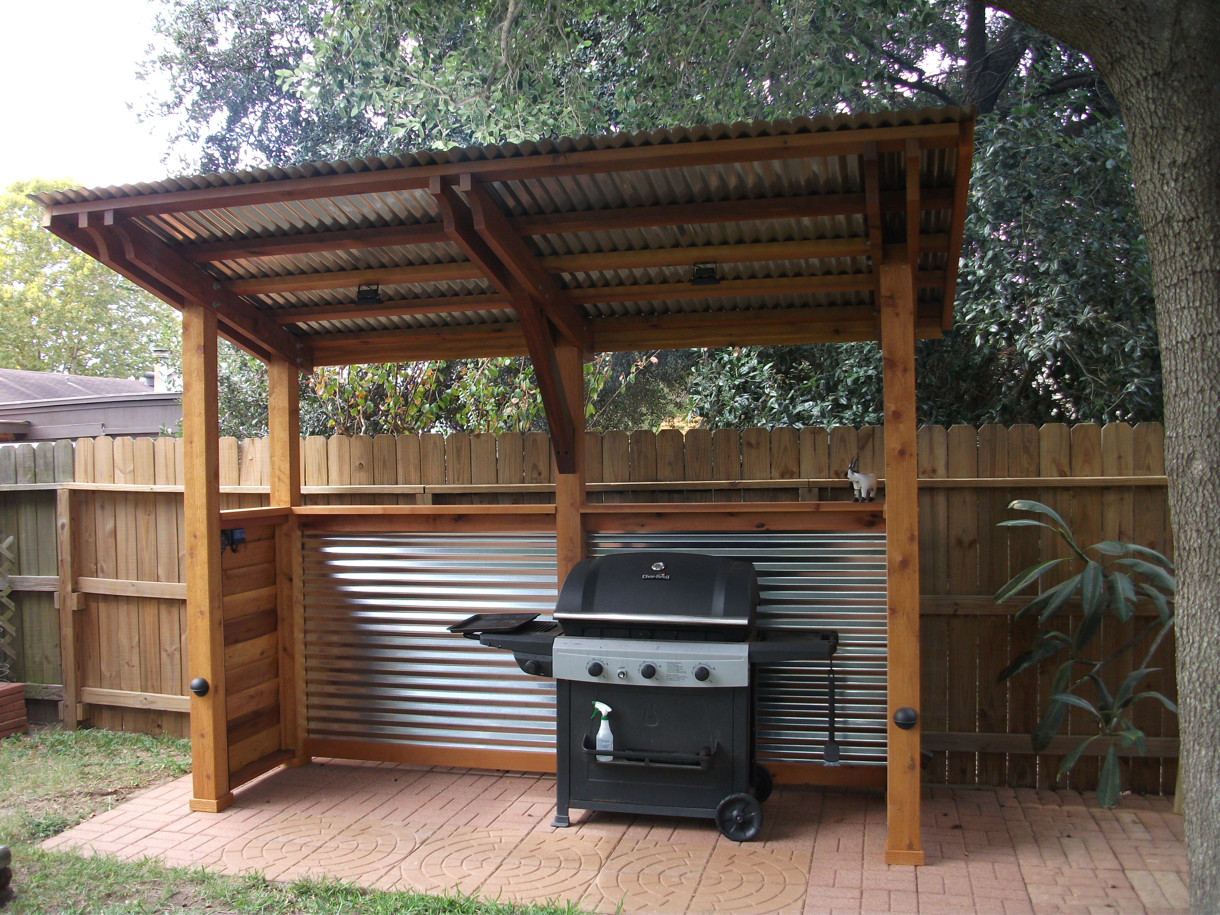Bbq Cover Outdoor Grill Area Backyard Kitchen Outdoor Grill