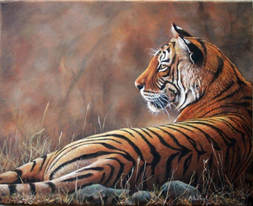 Alice Hurlbert Tiger, Wildlife art Original Oil painting ...