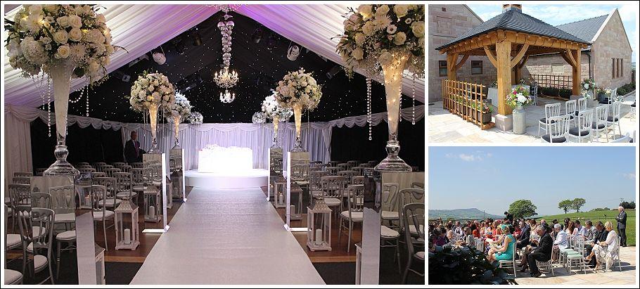 Heaton House Farm Indoor Wedding Ceremony Outdoor Night Sky Large