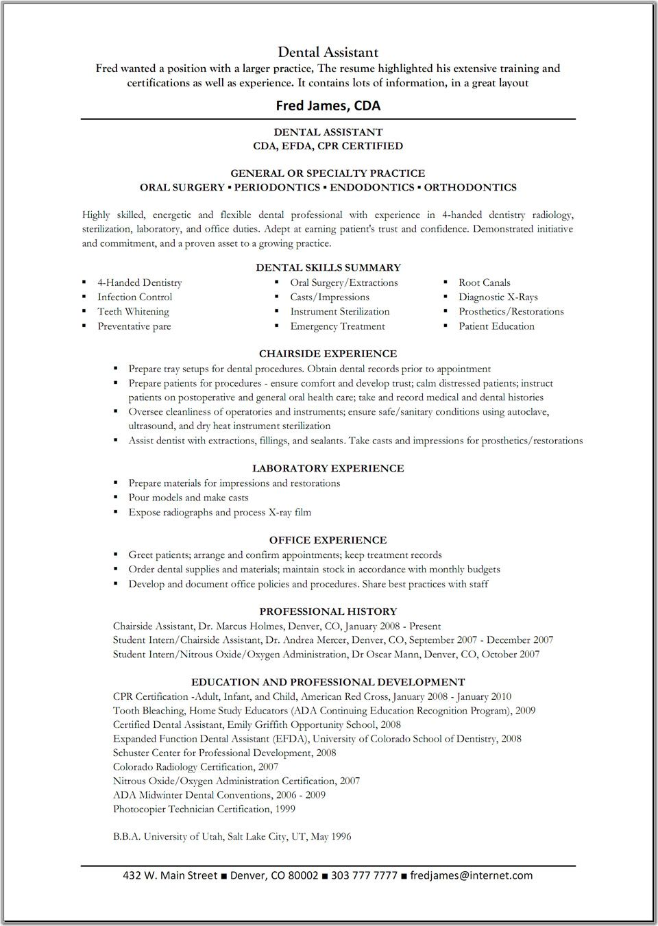 Resume Resume Format Dentist Job dental assistant resume template great templates templates