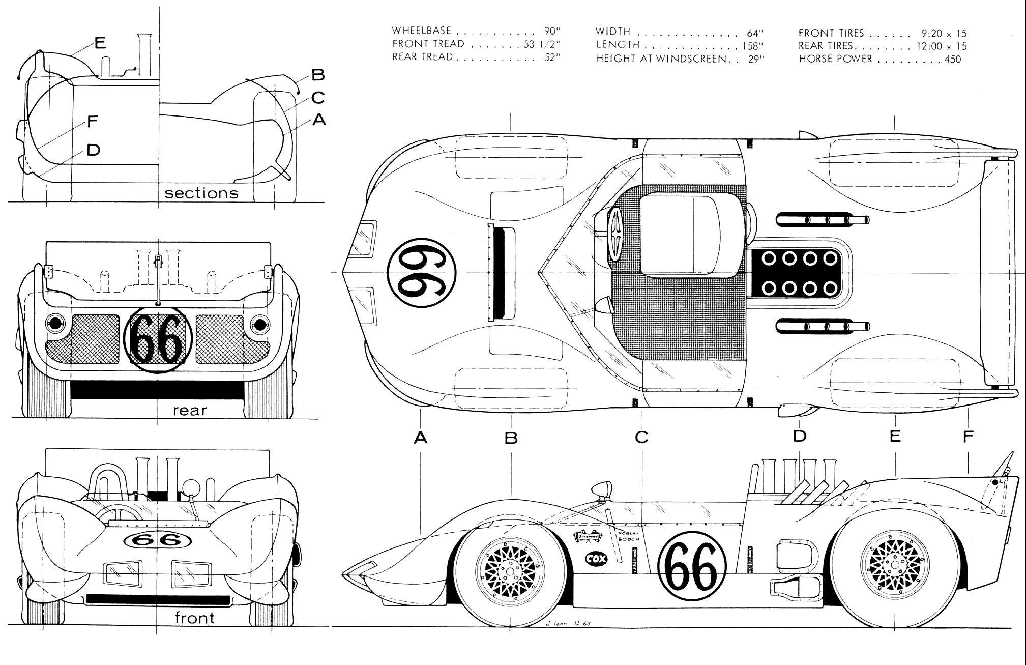 Chaparral 2D blueprint | Racing Car blueprint | Pinterest | Cars ...